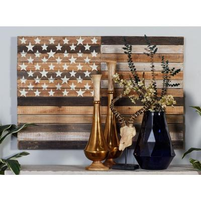 "30 in. x 44 in. ""Rustic American Flag"" Framed Wooden Wall Art"