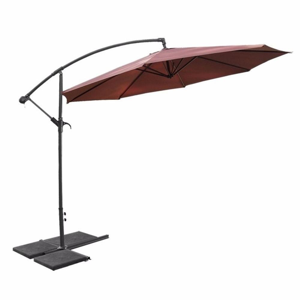 10 ft. Aluminum Outdoor Hanging Market Patio Umbrella in Brown