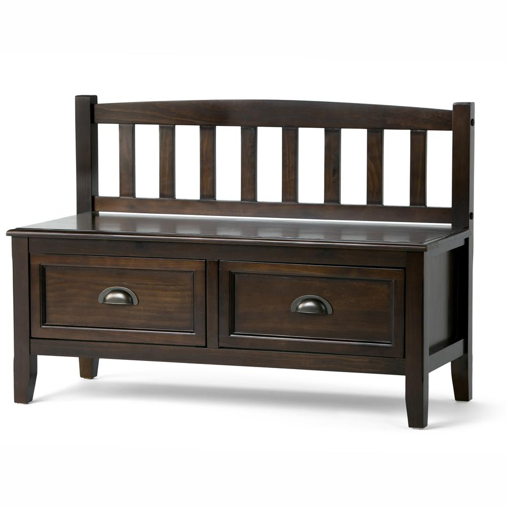 Lovely Simpli Home Burlington Espresso Storage Bench