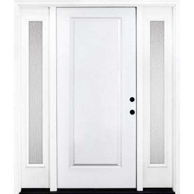 72 in. x 80 in. Classic 1-Panel LHIS Primed White Steel Prehung Front Door with Double 16 in. Rain Glass Sidelites