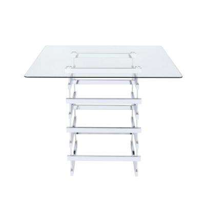 Nadie Clear Glass and    Chrome Counter Height Table