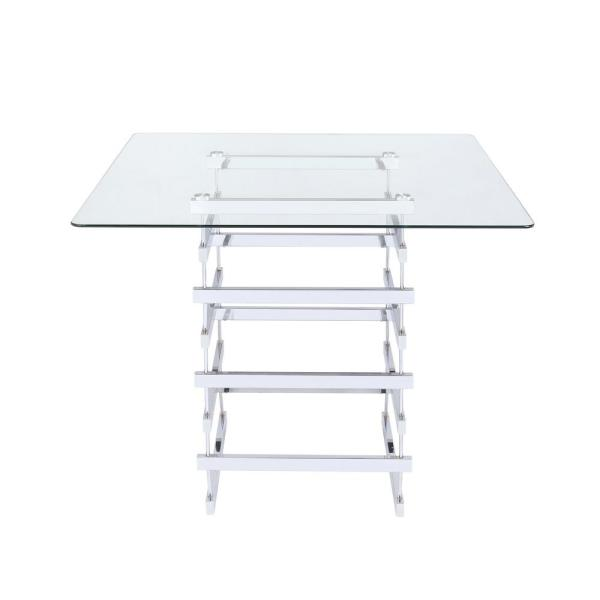 ACME Furniture Nadie Clear Glass and    Chrome Counter Height Table
