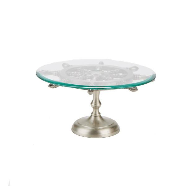 7d4e645ffe00f 1-Tier Silver Metal Glass Cake and Stand Cupcake Stand Holder. by Mind  Reader