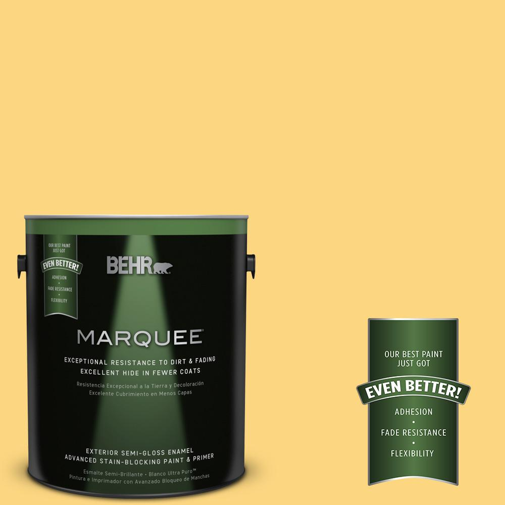 BEHR MARQUEE 1-gal. #350B-6 Wildflower Honey Semi-Gloss Enamel Exterior Paint