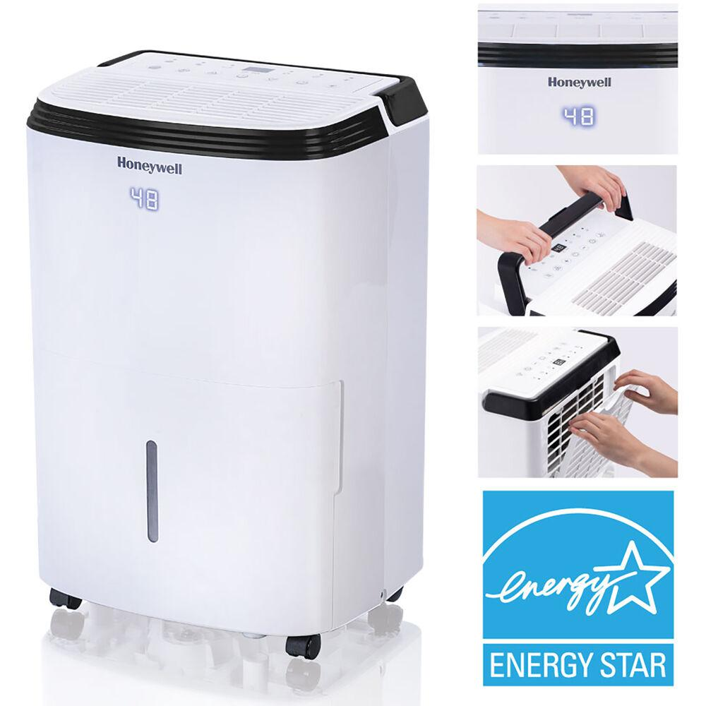Honeywell ENERGY STAR 70-Pint Dehumidifier with Washable Filter, Whites Backed by our outstanding warranty, Honeywell's dehumidifiers are the trusted choice for a reliable, long-lasting moisture removal for your home. This ENERGY STAR unit removes up to 70 pints of moisture daily with less energy than conventional dehumidifiers saving you money on electricity costs. Ideal for a room up to 4,000 square feet, our 70-pint dehumidifier will help you prevent mold and mildew damage in your home from high moisture levels in the air. A smart digital humidistat control system automatically senses room moisture levels and activates dehumidification to help maintain desired humidity levels. Honeywell Dehumidifiers are designed for portability, with smooth-gliding caster wheels and convenient top handles to move the unit from room to room with ease. Plus, the continuous drain option increases flexibility by allowing you to continuously drain the condensate water into a low-level drain for worry-free operation. Color: Whites.