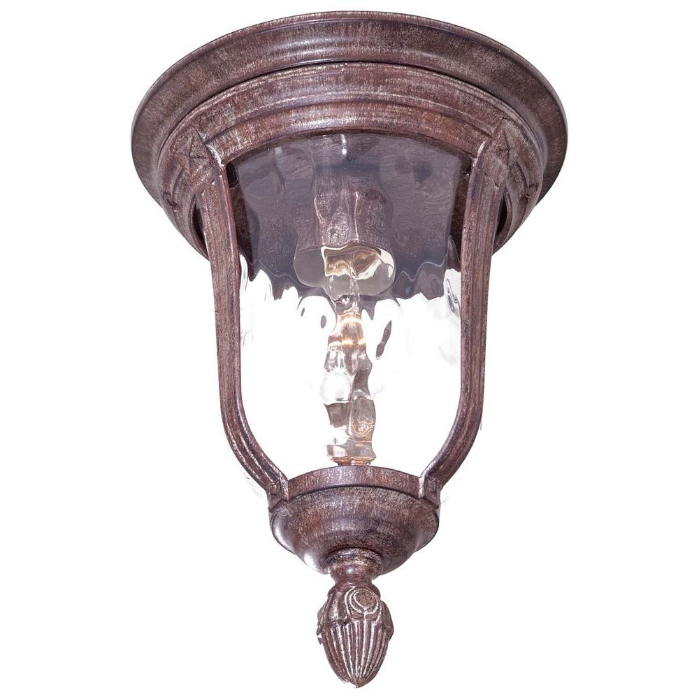 the great outdoors by Minka Lavery Flush-Mount 1-Light Outdoor Vintage Rust Lantern-DISCONTINUED