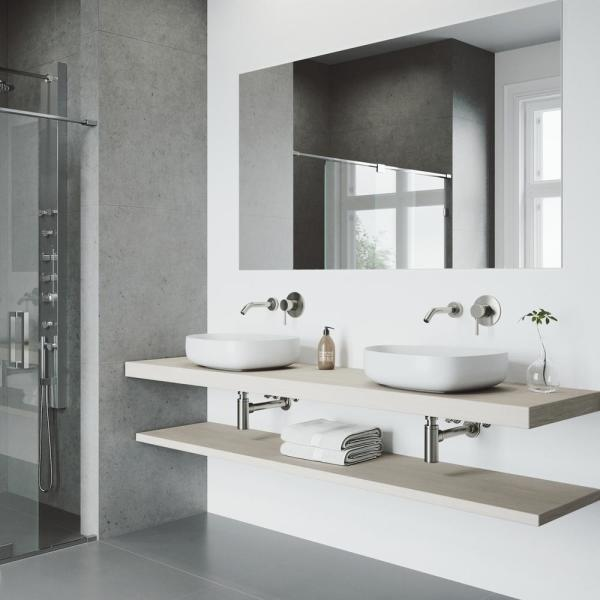 Vigo Matte Stone Peony Composite Specialty Vessel Bathroom Sink In White With Olus Faucet And Pop Up Drain In Brushed Nickel Vgt1254 The Home Depot