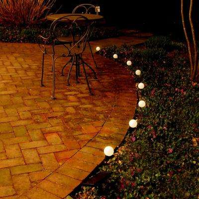 8-Light White Solar Powered Plastic Lanterns String Light