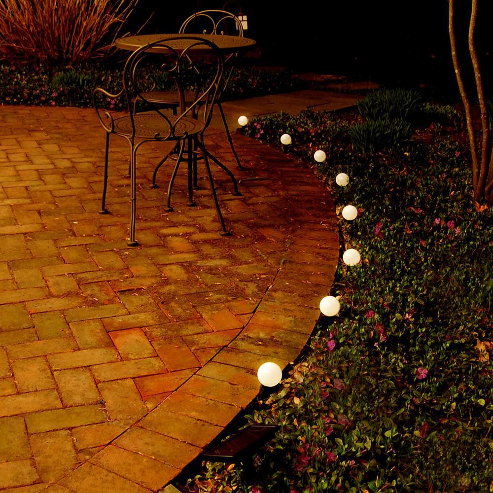 8-Light White Solar Powered Plastic Lanterns String Light
