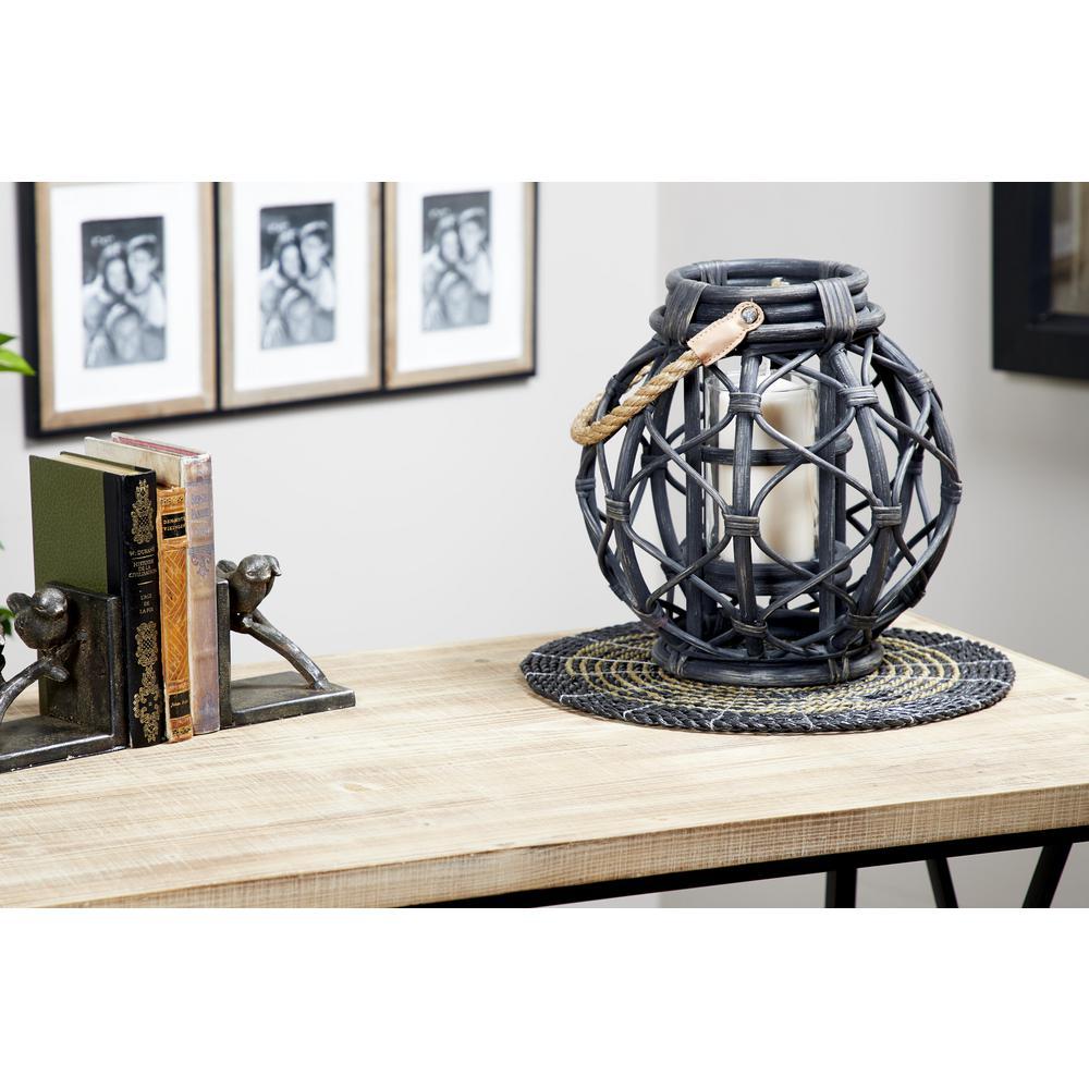 Litton Lane Black Woven Rattan Candle Lantern 35958