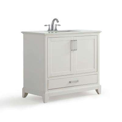 Elise 36 in. W x 21.5 in. D Bath Vanity in Soft White with Quartz Marble Vanity Top in Bombay White with White Basin