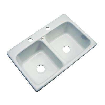 Newport Drop-in Acrylic 33x22x9 in. 2-Hole Double Bowl Kitchen Sink in Sterling Silver