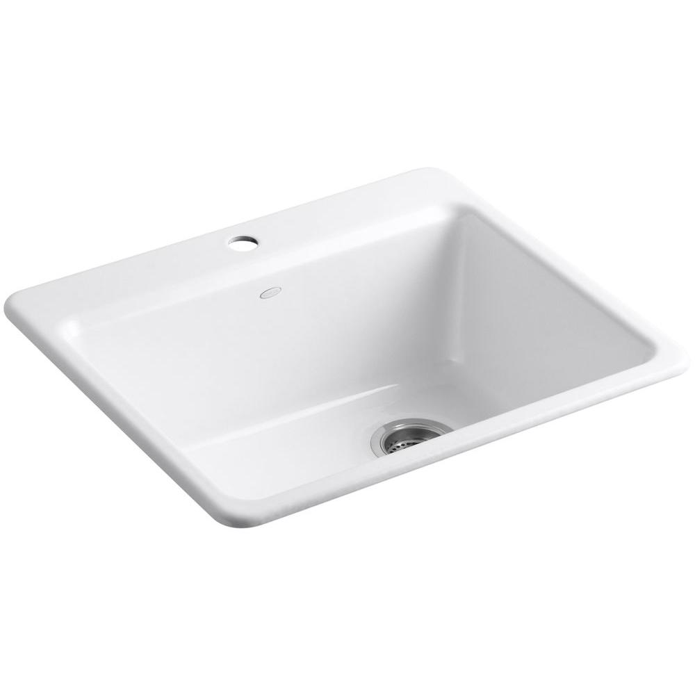 KOHLER Riverby Drop-In Cast-Iron 25 in. 1-Hole Single Bowl Kitchen Sink Kit with Bowl Rack in White