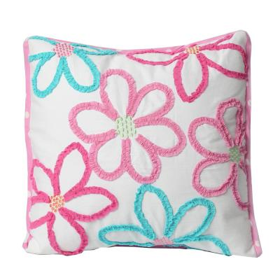 Multi-Colored Floral Daisy Ruffle Embroidery Poly Cotton 18 in. x 18 in. x 4 in. Square Decor Throw Pillow (Set of 1)
