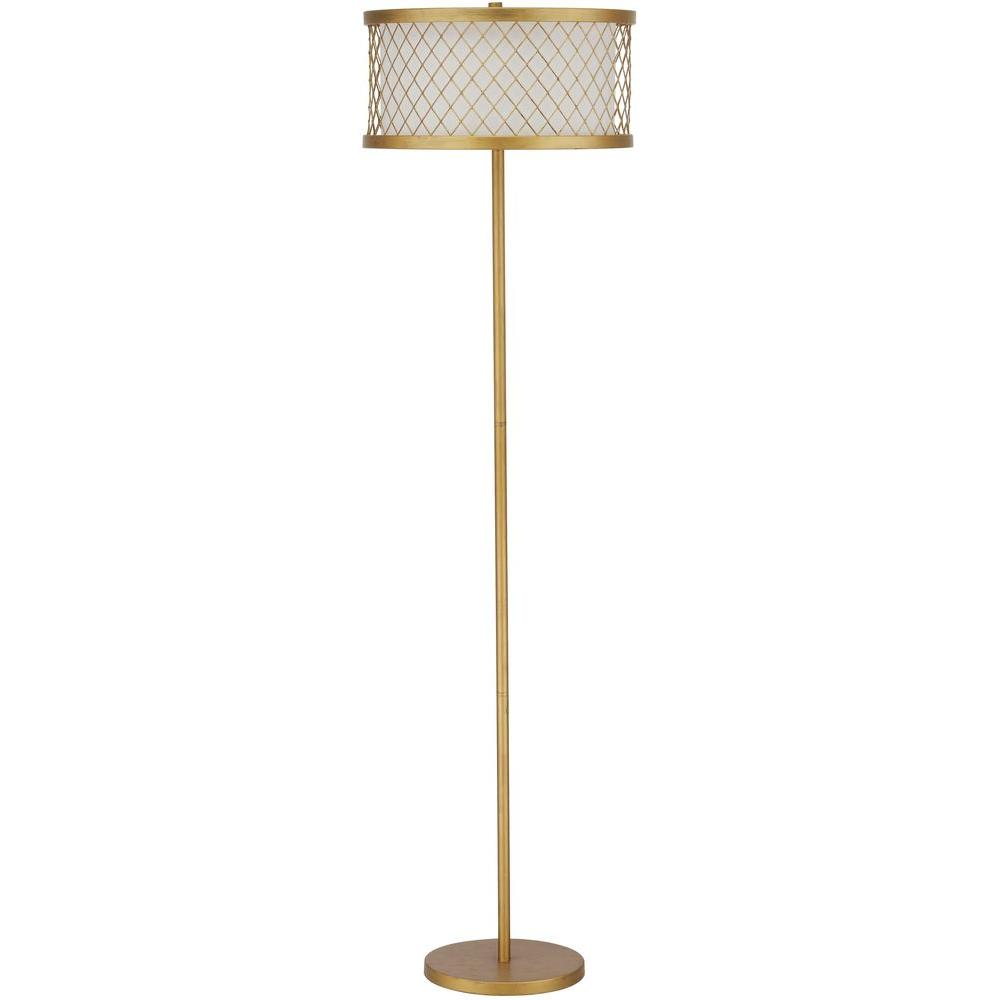 Safavieh Evie Mesh 58 25 In Antique Gold Floor Lamp With Patterned White Gold Shade Lit4199a The Home Depot