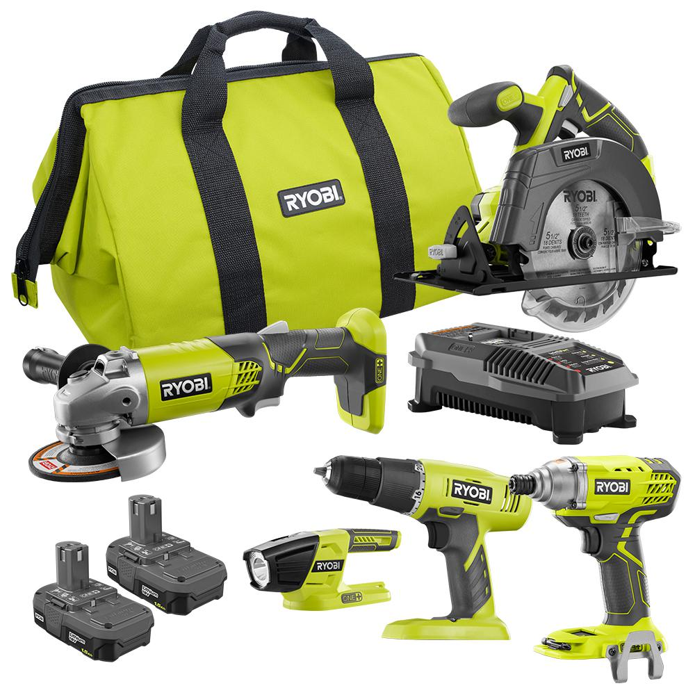 18-Volt ONE+ 5 Tool-Combo Kit with Drill, Circular Saw, Grinder, Impact