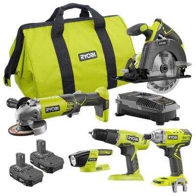 18-Volt ONE+ 5 Tool-Combo Kit with Drill, Circular Saw, Grinder, Impact Driver, (2) 1.5 Ah Batteries, Charger, and Bag