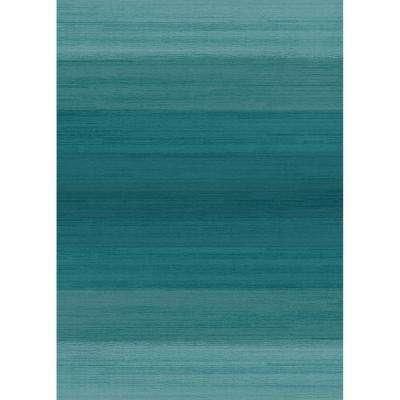Washable Ombre Blue 5 ft. x 7 ft. Stain Resistant Area Rug