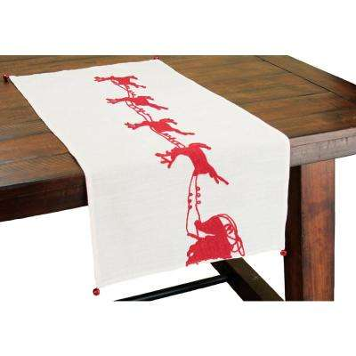 16 in. x 36 in. Santa's Sleigh with Bells and Reindeer Crewel Embroidery Holiday Table Runner with Jingle Bell Accents