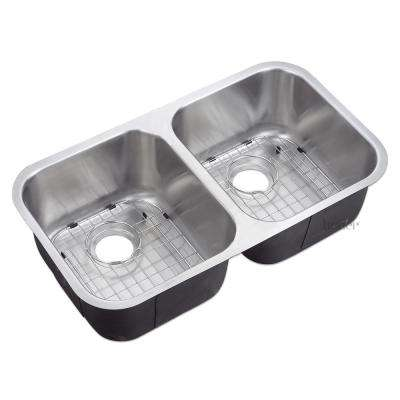 Undermount 18-Gauge Stainless Steel 31-1/4 in. 50/50 Double Bowl Kitchen Sink cUPC Grids and Strainer Combo