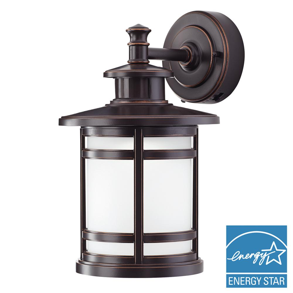 Motion sensing outdoor wall mounted lighting outdoor lighting oil rubbed bronze motion sensor outdoor integrated led medium wall mount lantern aloadofball Image collections