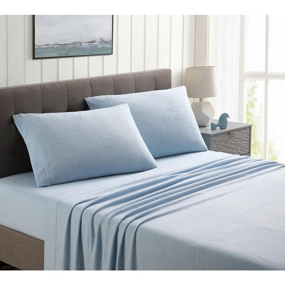 4-Piece Blue Solid King Sheet Set