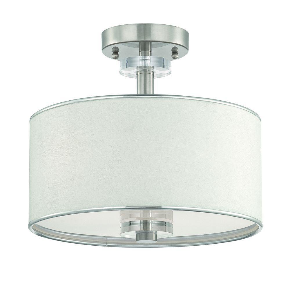 Savvy Collection 3-Light Satin Nickel and White Semi-Flush Mount