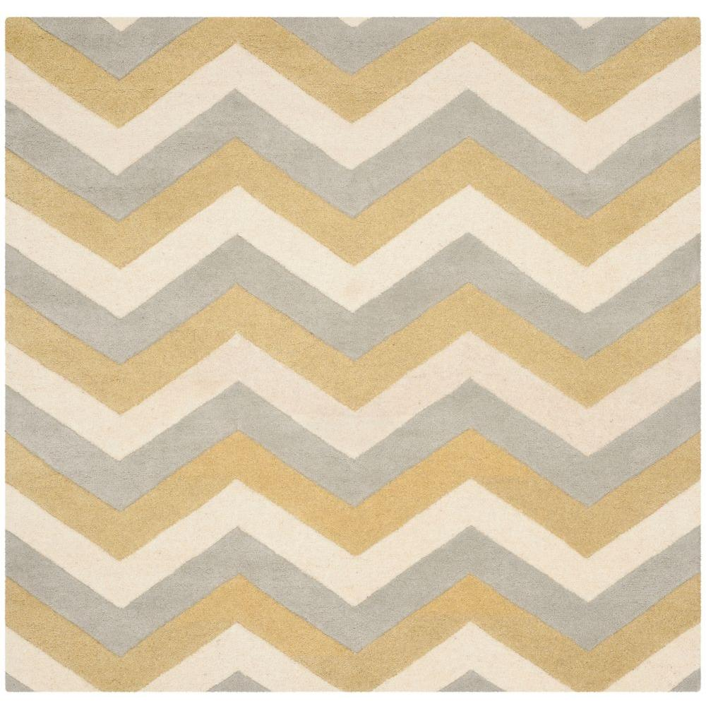 Safavieh Chatham Grey/Gold 7 ft. x 7 ft. Square Area Rug,...