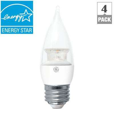 40W Equivalent Soft White Clear CA11 Bent Tip Medium Base LED Light Bulb (4-Pack)