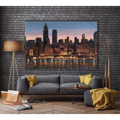 "48 in. x 72 in. ""Manhattan Reflection"" by James Wiens Printed Framed Canvas Wall Art"
