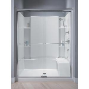 Sterling Finesse 57-1/2 inch x 70-5/16 inch Semi-Frameless Sliding Shower Door in Silver with Handle by STERLING