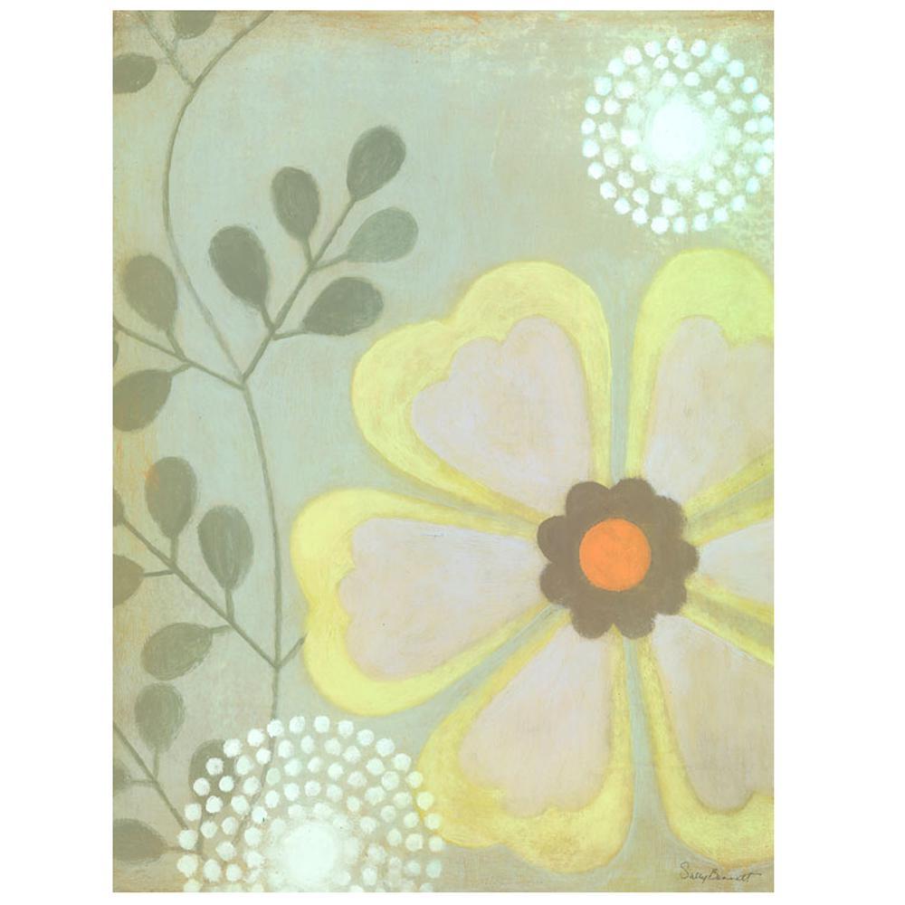 24 in. x 18 in. ''Green Flower'' by Sally Bennett Printed