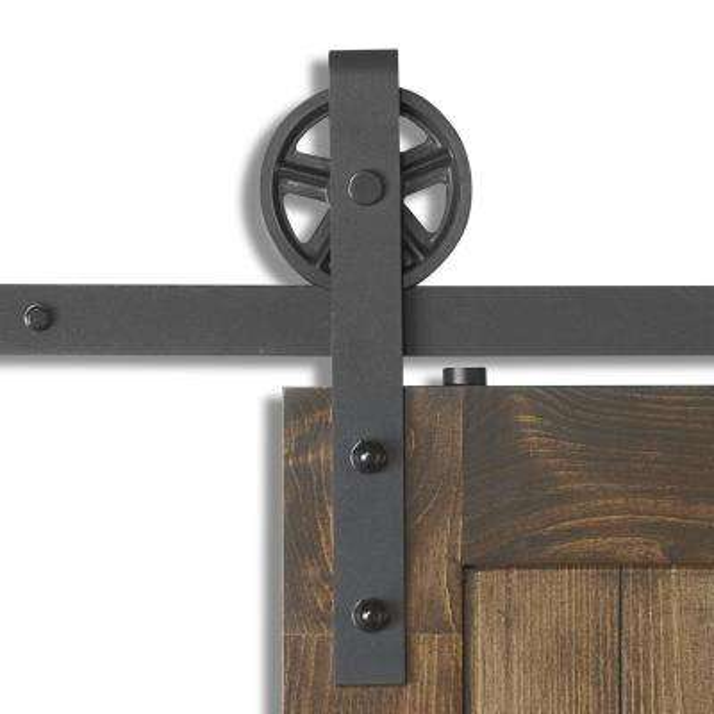 78-3/4 in. X 14 in. Wagon Rail Sandy Black Steel Sliding Door Hardware Kit