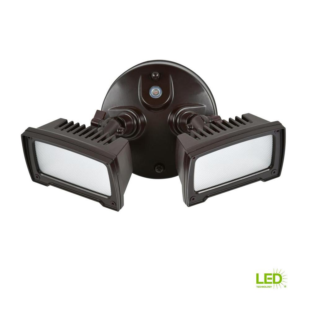 36-Watt Bronze Dusk-to-Dawn 2-Light Outdoor Integrated LED ...