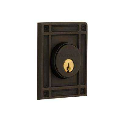 Mission Plate 2-3/8 in. Backset Double Cylinder Deadbolt in Oil-Rubbed Bronze