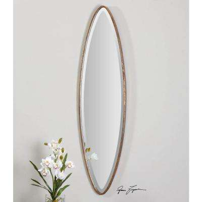 46 in. x 12 in. Antique Gold Oval Framed Mirror