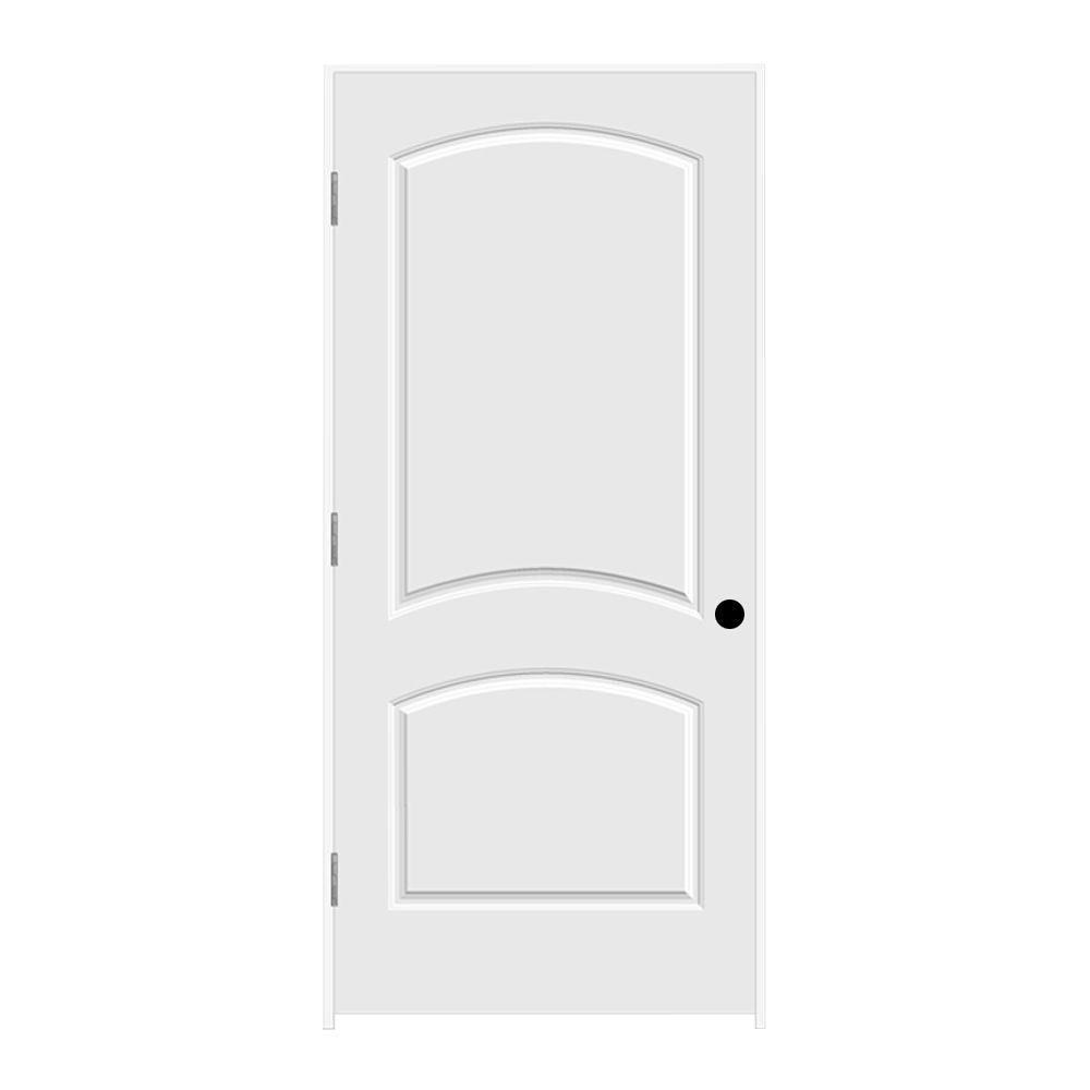 JELD-WEN 36 in. x 80 in. Primed Right-Hand C2050 2-Panel Arch Top Premium Composite Single Prehung Interior Door