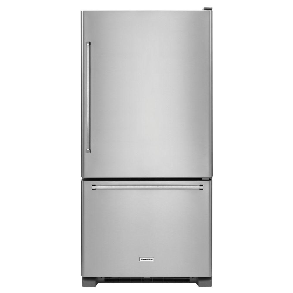 kitchenaid 22 cu ft bottom freezer refrigerator in stainless steel rh homedepot com