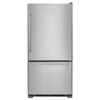33 in. W 22.1 cu. ft. Bottom Freezer Refrigerator in Stainless Steel