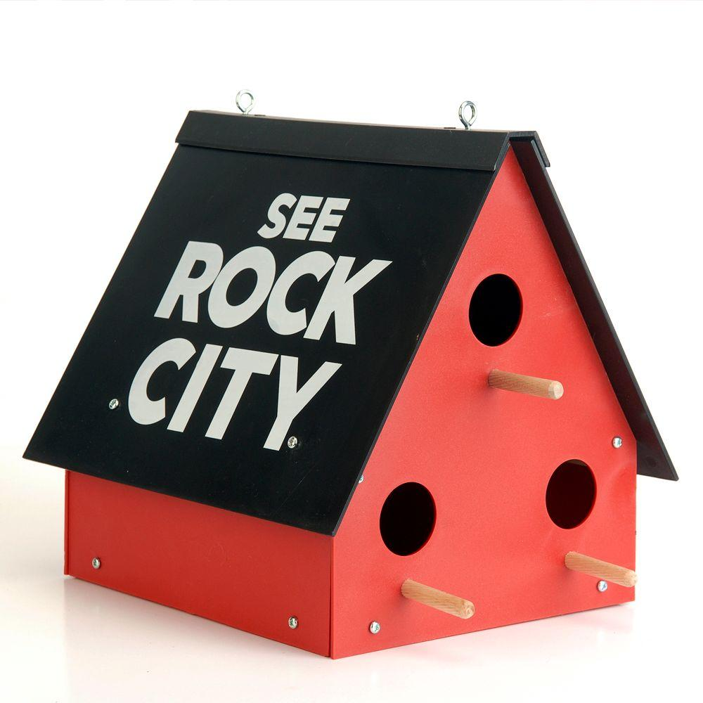 Feeder See Rock City Outdoor Lawn Bird House Rustic Vintage, Easy To Assemble