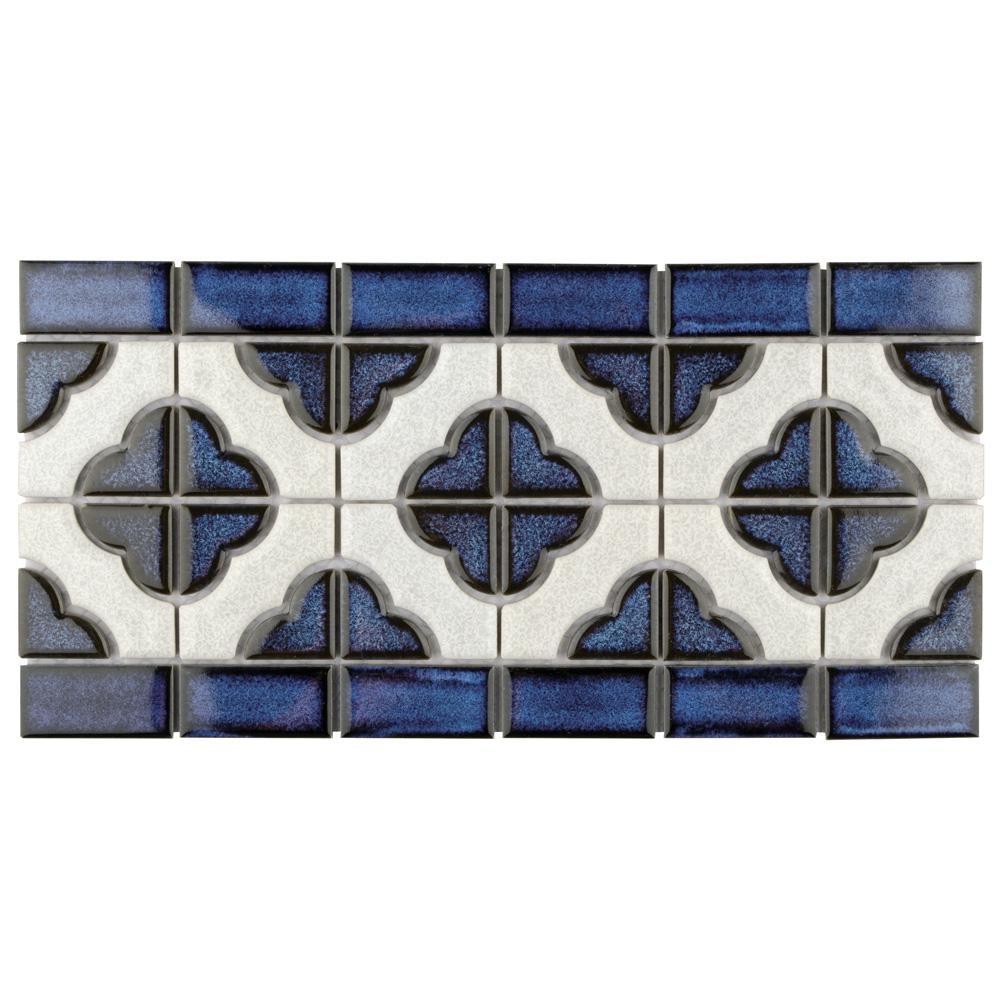 Merola Tile Palace Cobalt with White Border 5-3/4 in. x 11-3/4 in. x ...