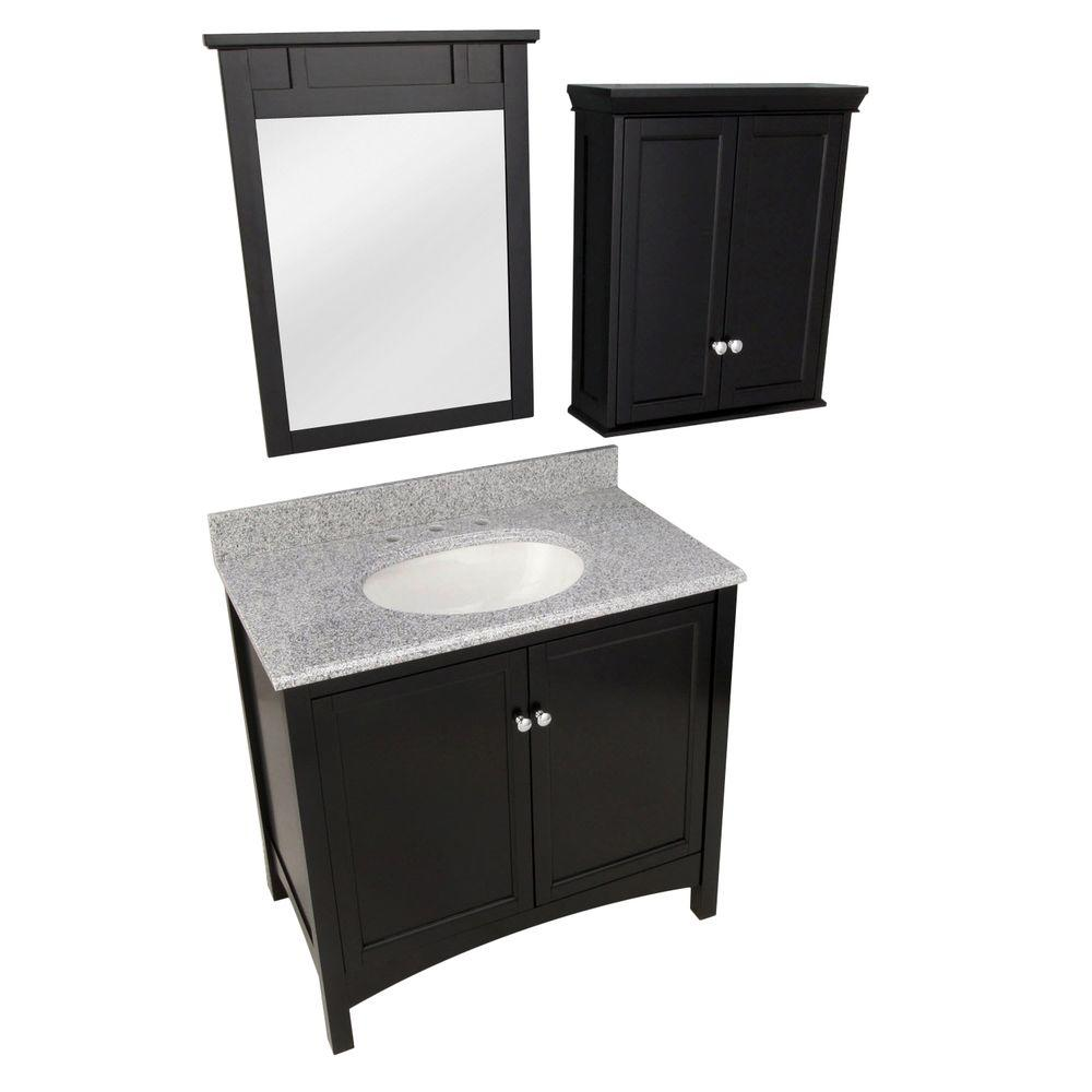 Foremost Haven 37 in. Vanity in Espresso with Granite Vanity Top in Napoli and Mirror and Wall Cabinet in Espresso
