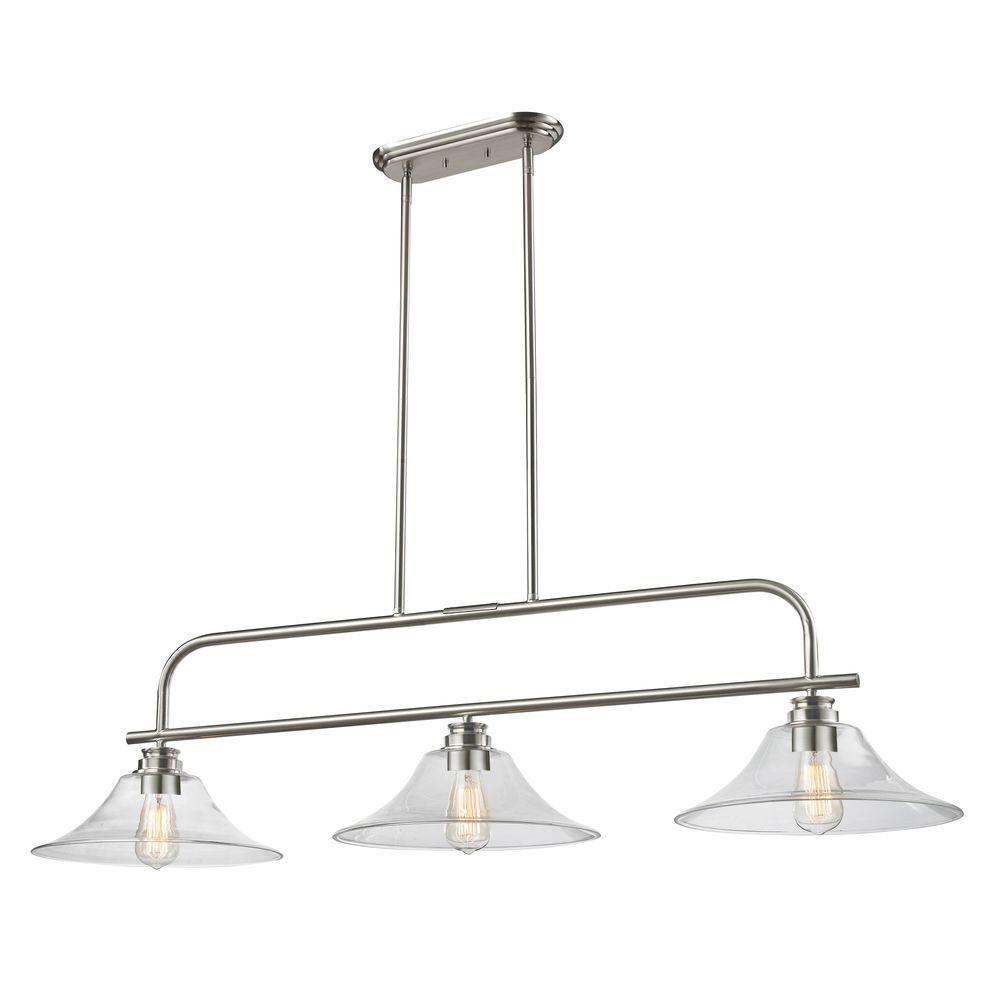 Filament Design Nina 3-Light Brushed Nickel Island Light