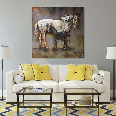 """48 in. x 48 in. """"Mare and Foal"""" Mixed Media Iron Hand Painted Dimensional Wall Art"""