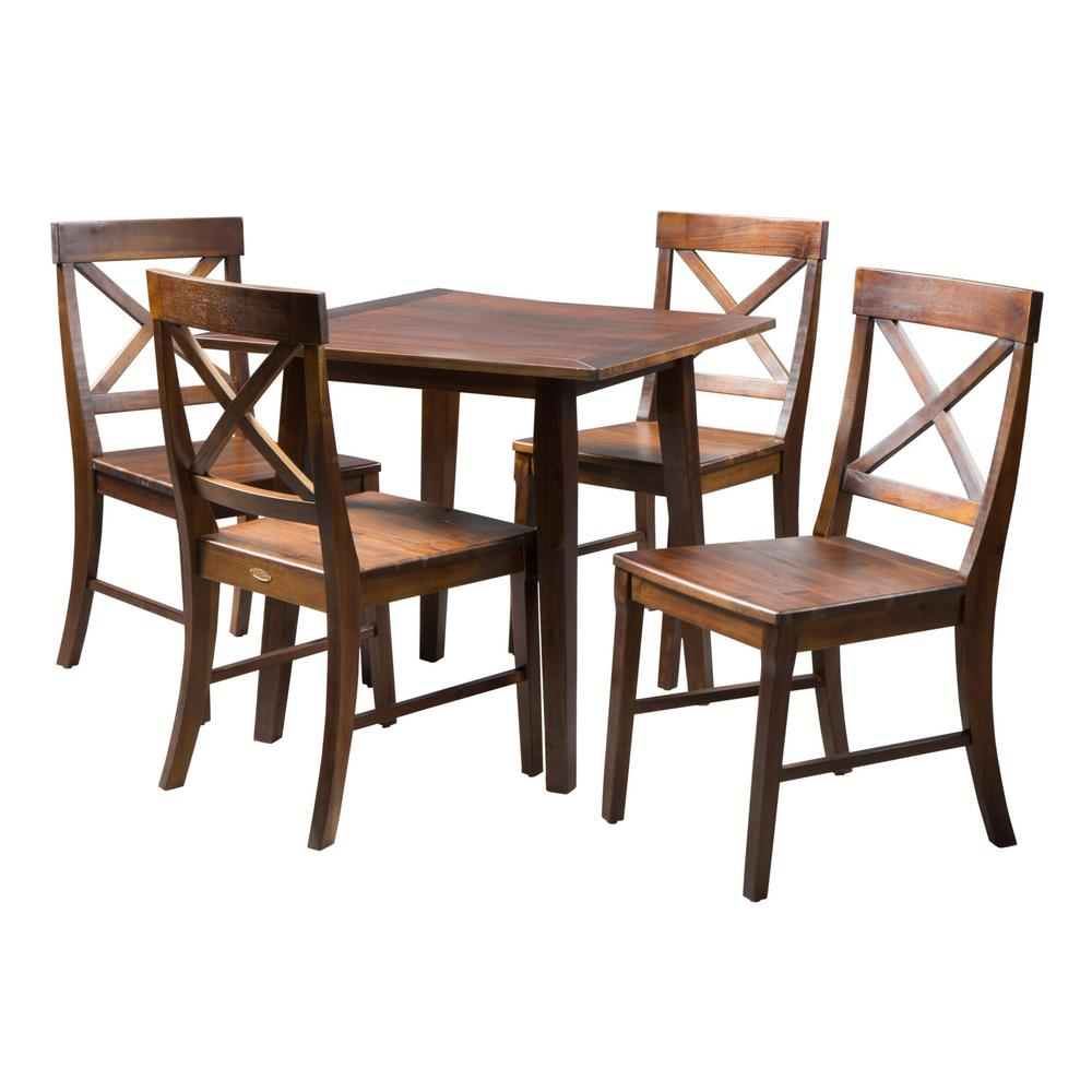 Noble House Carridge 5 Piece Rich Mahogany Dining Set With Square Dining Table 5307 The Home Depot
