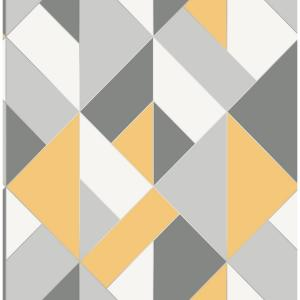 8 in. x 10 in. Delano Yellow Structured Geo Wallpaper Sample