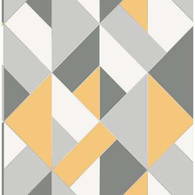 Geometric Brewster Yellow Wallpaper Home Decor The Home Depot