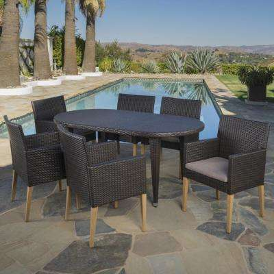 Kala Multi-Brown 7-Piece Wicker Outdoor Dining Set with Mocha Cushions