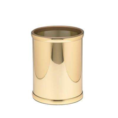 Mylar 8 Qt. Polished Brass Round Waste Basket