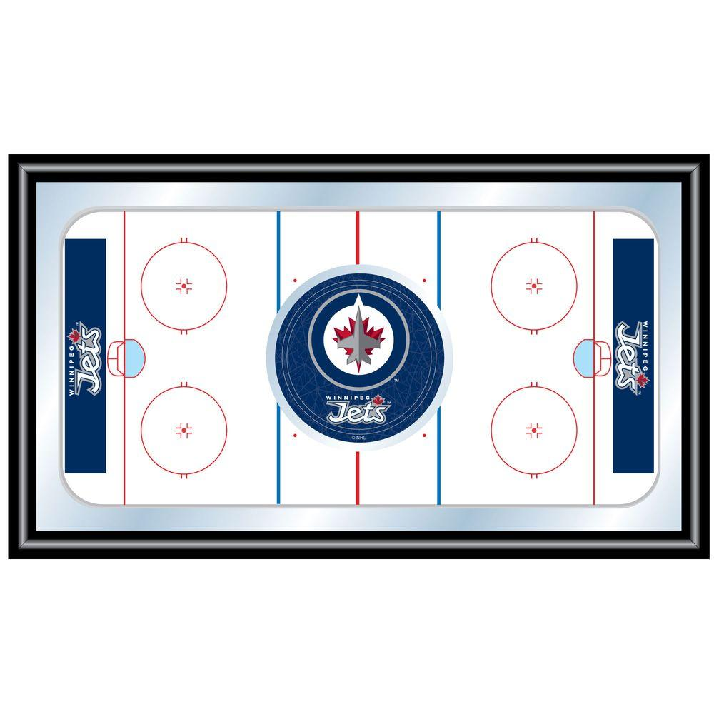 null NHL Winnipeg Jets 15 in. x 26 in. Black Wood Framed Mirror